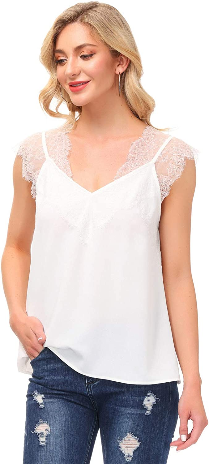 Kate Kasin Women's V Neck Lace Strappy Cami Tank Tops Sleeveless Casual Loose Blouses Shirts