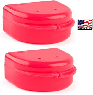 Retainer Case (2 Pack). Aligner and Retainer Case for Night Guards,  Invisalign Aligner Trays,  Mouth Guard, Denture Case,  Mouthguard. Vent Holes in Cases (Bright Pink)