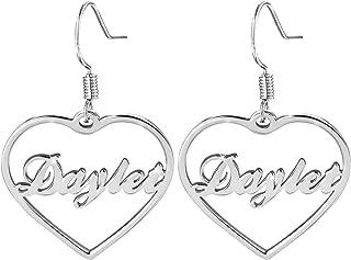 Orecchini con nome personalizzato Orecchini con nome inciso con ciondolo a cuore Orecchini con nome Eardrop Anniversario p...