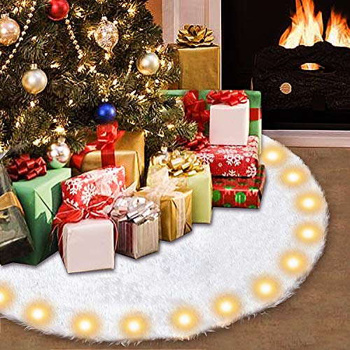 Senneny 48 Inch Christmas Tree Skirt Snowy White Christmas Tree Skirt with LED Light Plush Faux Fur Tree Skirts Mat for Christmas Holiday Party Decorations - 4 ft Diameter