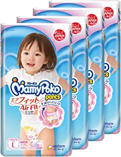 MamyPoko Air Fit Pants Girl, L, 44 Count, (Pack of 4)
