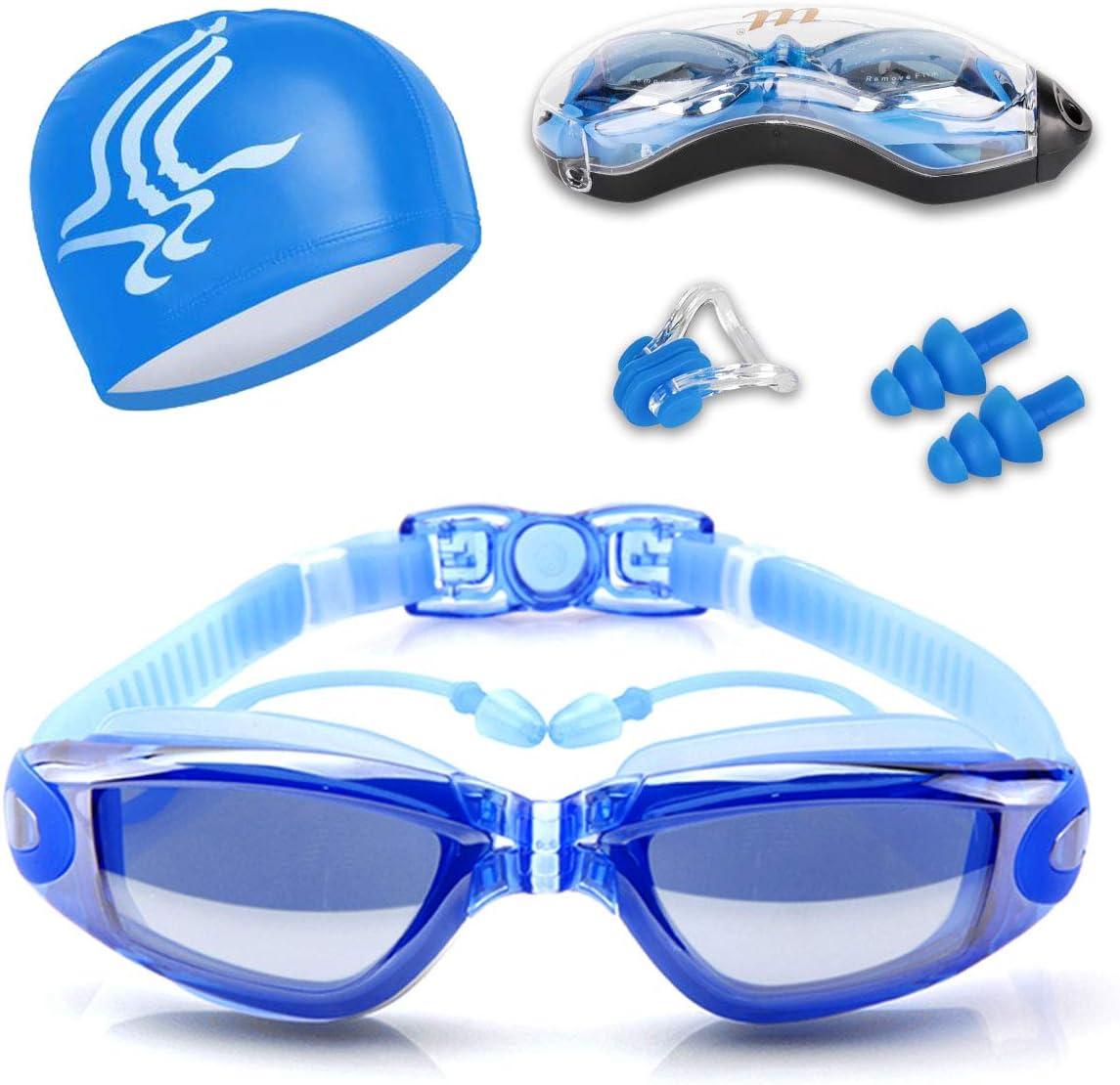 Gafas de Natación, Antiniebla Protección UV Sin Fugas Gafas Natación con Libre Clip de Nariz Enchufe de oído, Visión Amplia Clara para Hombres Mujeres Adultos Niños de la Juventud Niño para Piscina De