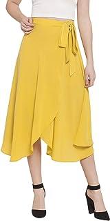 Martini Women Yellow Wrap Midi Skirt