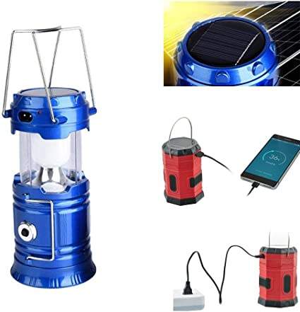 Solar and Rechargeable Lantern Flashlight Collapsible and Portable Light,Portable Outdoor LED Flame Lantern Flashlights Solar Camping Lantern 3-in-1 LED Camping Lantern Blue