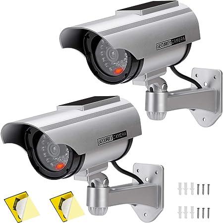 AlfaViewダミーカメラ ソーラーパネル搭載 防犯カメラ 赤LED常時点滅 防水 屋内外両用監視カメラ 半永久的に使用可能 赤外線型 1台/2台 (2個セット)