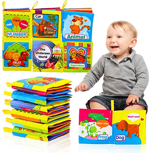HOWAF First Soft Books for Baby Toddler, 6 Pack Fabric Cloth Books for Baby Boys Girls Early Development Activity Toys Gift, Animal Car Number Fruit Vegetable Undersea World Soft Book with Sounds