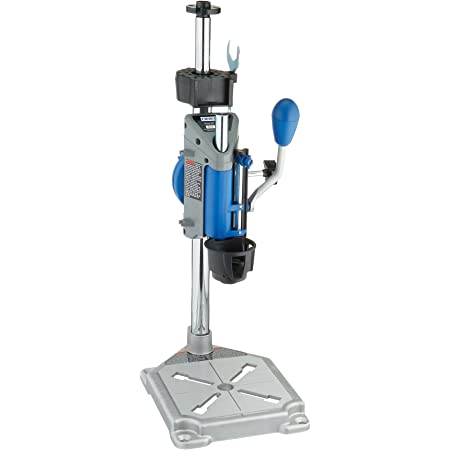 Dremel Drill Press Rotary Tool Workstation Stand with Wrench- 220-01- Mini Portable Drill Press- Tool Holder- 2 Inch Drill Depth- Ideal for Drilling Perpendicular and Angled Holes- Table Top Drill , Silver