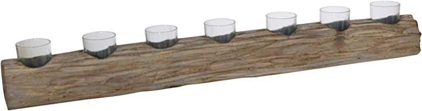 "Sagebrook Home 15343-01 WOOD 32"" LOG 7-CUP TEALIGHT HOLDER, GRAY, L x 4"" W x 3.75"" H"