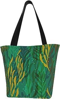 Einkaufstaschen, Unterwasserwald, türkis, Segeltuch, Umhängetasche, Einkaufstasche, wiederverwendbar, faltbar, Reisetasche, groß und langlebig, robuste Einkaufstaschen