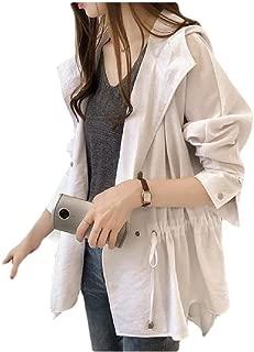 Howely Women's Outwear Loose Jacket Mid-Long Hood Jacket Trench Coat