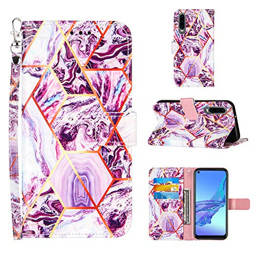 Ostop Compatible avec Coque Huawei P30 Étui Housse Rabat Clapet Portefeuille Premium Cuir Motif Marbre Flip Case Coque Femme Hommes,avec Porte Carte,Support,Dragonne,Violet
