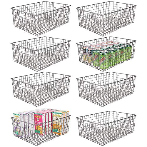 mDesign Farmhouse Decor Metal Wire Food Organizer Storage Bin Baskets with Handles for Kitchen Cabinets Pantry Bathroom Laundry Room Closets Garage 8 Pack - Graphite Gray