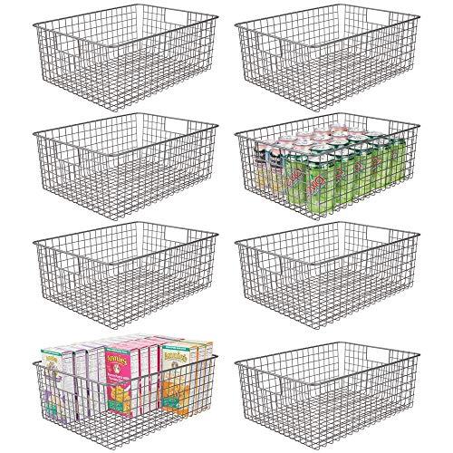 mDesign Farmhouse Decor - Cestas de alambre de metal con asas para armarios de cocina, despensa, baño, lavandería, armarios, garaje, 8 unidades, color gris grafito