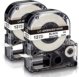 Absonic Tape Cassette Replacement for EPSON LW-300 LW-400 LW-500 LW-600P LM-700 LW-900P LW-1000P Label Maker LC-4WBN9/LK-4...