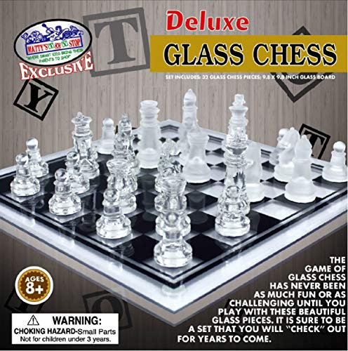 Matty's Toy Stop Deluxe Clear & Frosted Glass Chess Set (10') Small