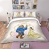 Juego de cama de 3 piezas, diseño de La Bella y la Bestia, microfibra, con cremallera, para niños, princesas Disney (doble 200 x 200 cm)