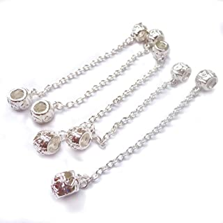 NUOLUX 5Pcs Safety Chain Stopper, Euro Safety Chains Stop Beads Euro Charm Bracelets (Sliver)