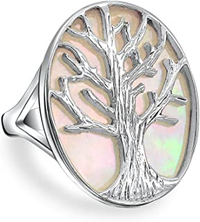 Large Statement Oval White Rainbow Abalone Shell Nature Family Wishing Tree Of Life Ring For Women 925 Sterling Silver