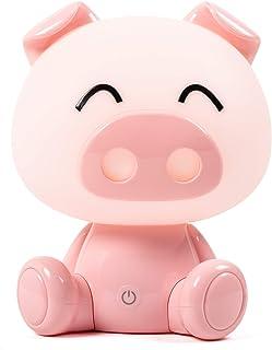 Lámpara mesilla niños y bebe. Luz nocturna tres intensidades, táctil, quitamiedos infantil para dormir. Cable USB. CERDITO AMOROSO ROSA. RUDACAS