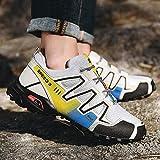 Aerlan Street Running Shoes,Zapatillas de Running para Hombre y Mujer,Zapatos para Caminar al Aire Libre, Senderismo, Deportes, Zapatos para Correr, Zapatos Casuales, Gris / Amarillo_40#