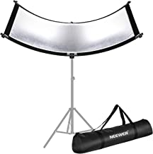 Neewer Clamshell Light Reflector/Diffuser for Studio and Photography Situation with Carry Bag, 66×24 Inch Arclight Curved Light Reflector, Black/White/Gold/Silver, Eyelighter Reflector for Photography