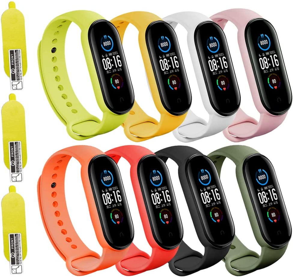 (8 PACK) Mi 5 & 6 Strap Replacement Bracelets with three FREE Screen Protectors , Skin-Friendly Soft & Flexible Silicone Mi 5 & 6 Strap Wristbands for Male and Female