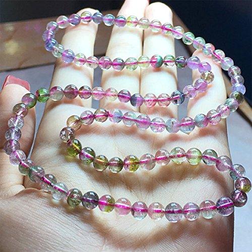 1 hebra natural azul rosa sandía turmalina elástica pulsera collar 3 vueltas tamaño: 5,5 mm 04532