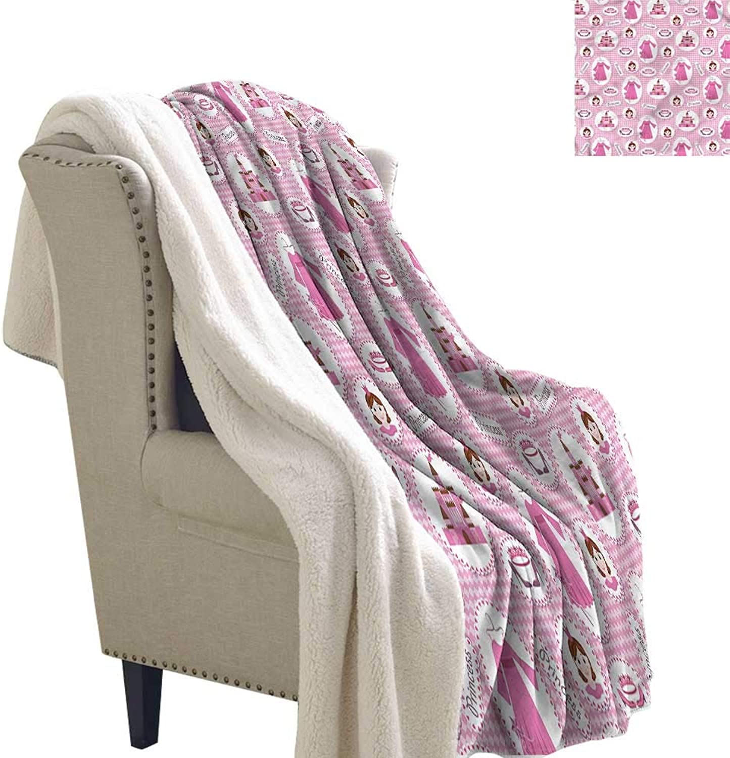 AndyTours Outdoor Blanket Princess Girl Tiara Castle Dress Blanket for Family and Friends W59 x L31