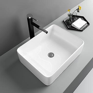 "Bathroom Sink Rectangular - Lofeyo 19""x15"" Vessel Sink White Ceramic Bathroom Sink Above Counter Rectangle Vanity Sin"