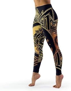 IOVEQG Women's High Waisted Yoga Leggings Gold Moon Rose Regular Size Skinny Pants for Girl