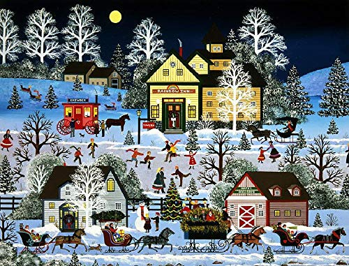 Jigsaw Puzzle 1000 Piece Happy Hour Snow Scene Suitable for Teenagers and Adults Wooden Puzzle Unique Home Decorations and Gifts 75x50cm