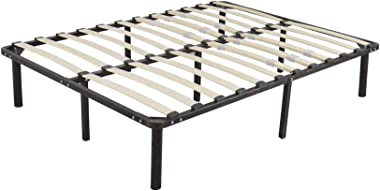 NUFR Home Stable & Durable HomeUse Bed Metal Iron Stand & Wooden Slat Bed Queen Size Black US Warehouse