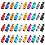 Xinzistar 40 Pezzi Tappi Valvole Bici, Tappini Bici Multicolore Cappucci Valvole di Bici Presta in Alluminio di Ciclismo Presta Anodizzato Cappucci per Pneumatici di Bici Coperchi Parapolvere