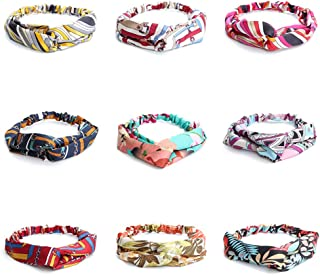 A Set of Eight or Nine Bohemia Headbands for Women Vintage Flower Printed Head Wrap Twisted Cute Hair Accessories (Sets of 9(Option 3))