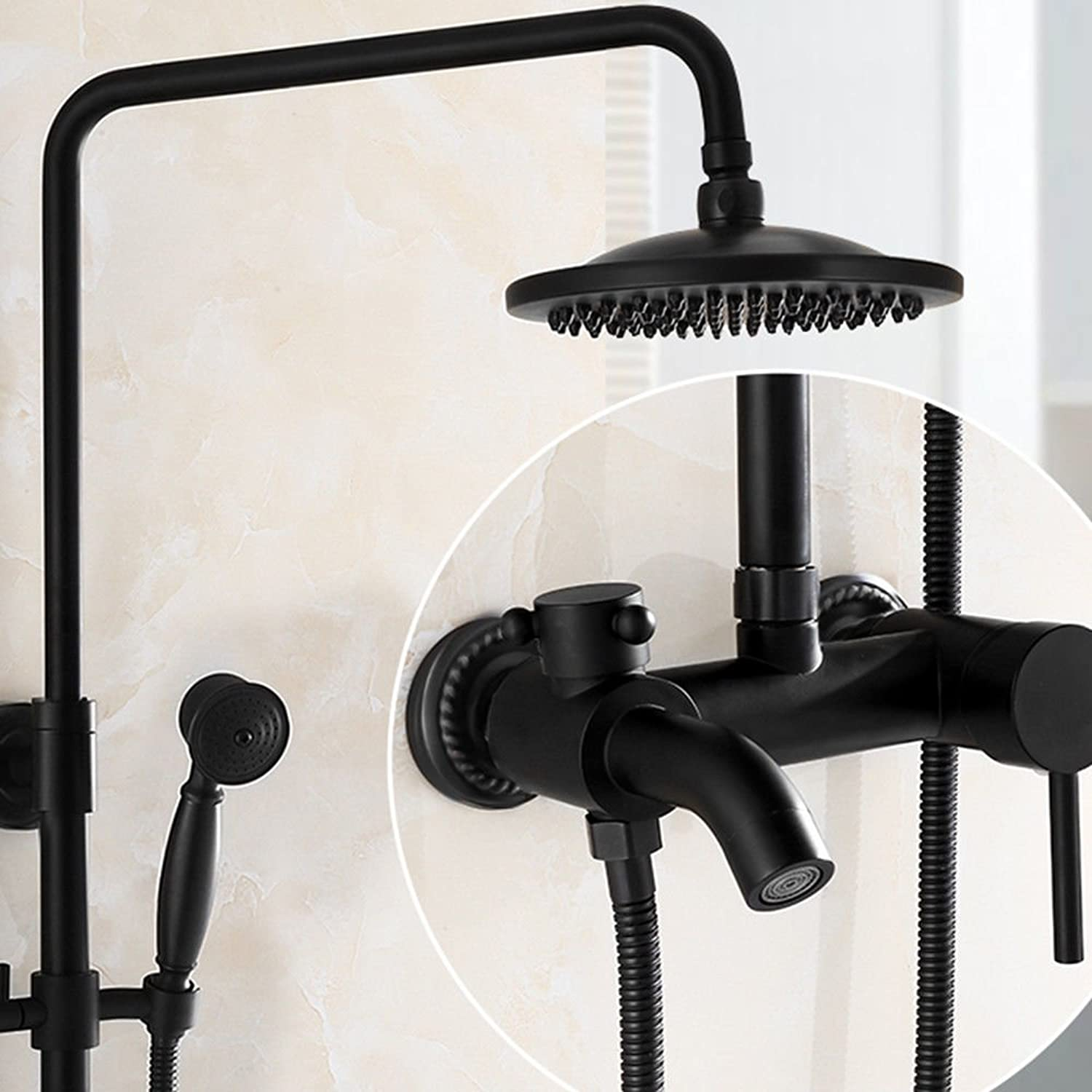 Hlluya Professional Sink Mixer Tap Kitchen Shower Kit black shower kit booster-style brass shower faucets can be redated with lifting showers wall mounted antique thermostatic showers packaged,D3