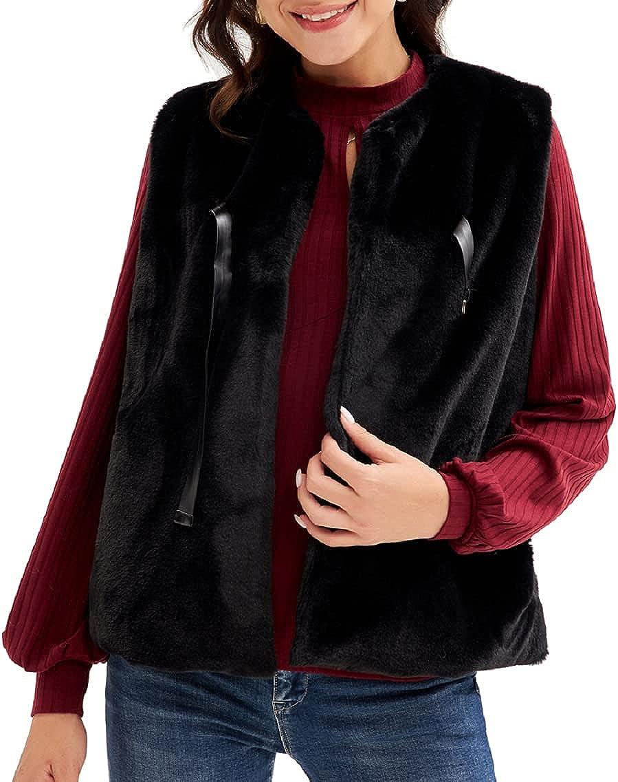 LIUMILAC Women Fluzzy Vest with Pockets Sleeveless Open Front Faux Fur Vest Coat
