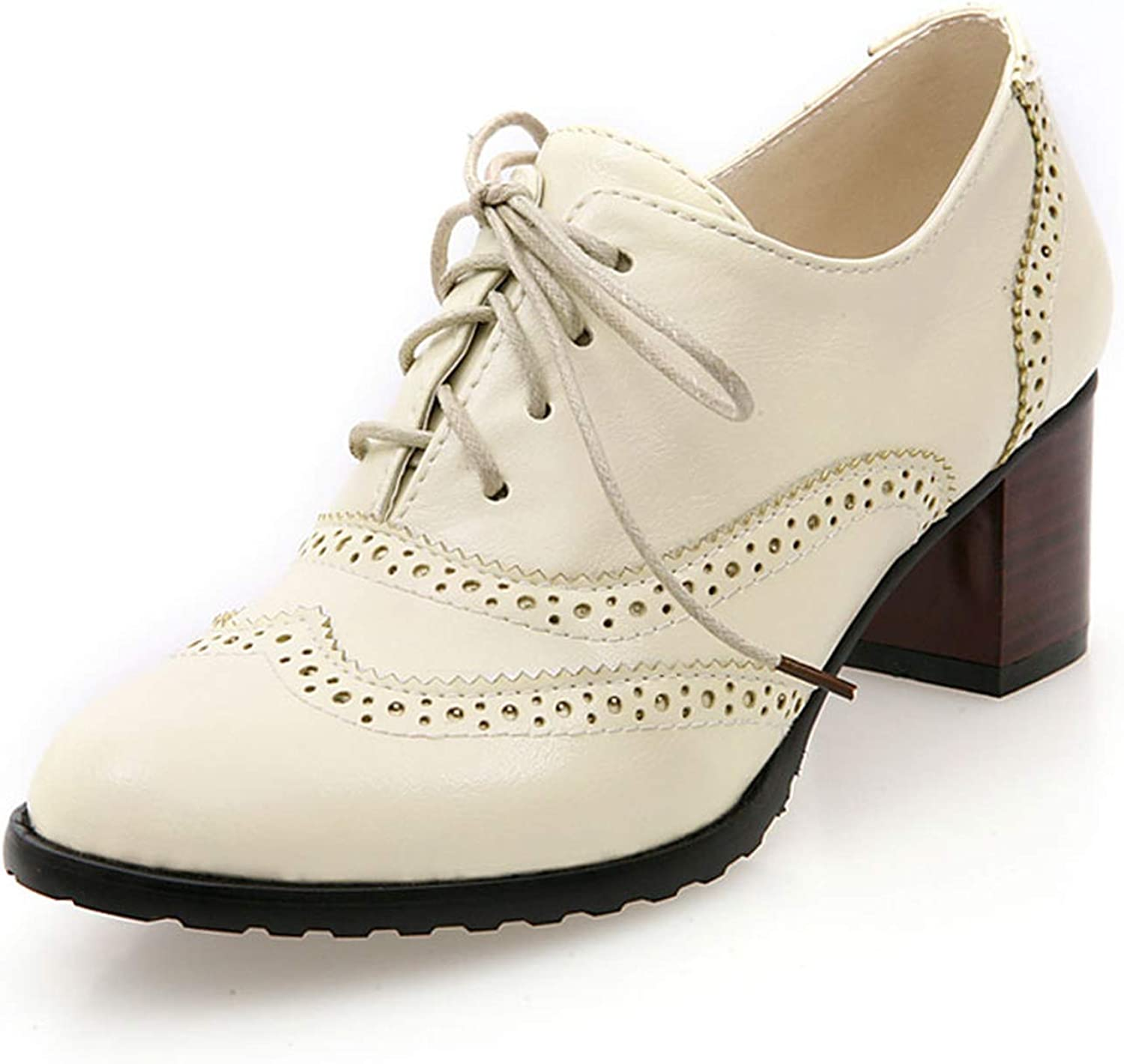 Mao YiE New Women's Winged Oxford Lace Up Striped Platform Vintage Bullock shoes
