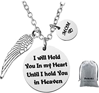 Mom Memorial Jewelry Necklace -I Will Hold You in My Heart Until I Hold You in Heaven,Loss of Loved One, Condolence Gift Sympathy Jewelry Gifts for Loss