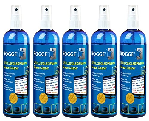 5er Pack ROGGE 250ml Original, LCD - TFT - LED - TV - Touch Displays + Plasma Screen Cleaner. The Original Since 1998. Made in Germany