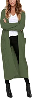 Womens Open Front Button Down Casual Knitted Long Maxi Cardigans with Pockets