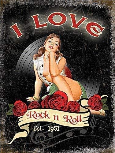 I love rock n rouleau Est 1951. Années 50 sexy pinup. Roses et vinyle. house,home,salle de musique,barre,pub,cafe/boutique Joan Jett & le Blackhearts 1981 lyrique from hit chanson. Métallique/ - Acier, 20 x 30 cm