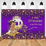 Fondo de fotografía de Ducha de bebé de niña Real Corona de Princesa Coche de Calabaza Dorada Fondo púrpura A47 7x5ft / 2,1x1,5 m