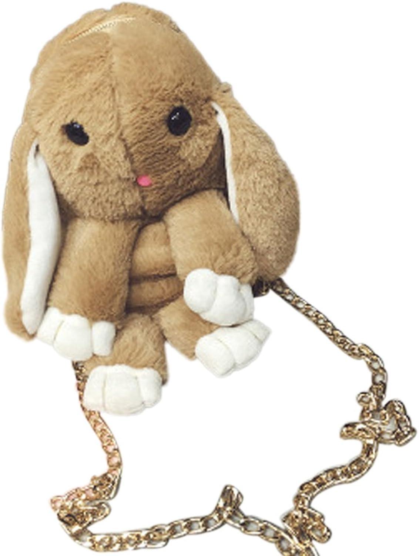 CHUANGLI Cute Rabbit Doll Bunny Handbag Shoulder bag for Girls Womens Shopping Wallet Purse