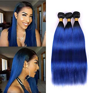 Ombre Weave 1b/Blue Brazilian Straight Hair 3 Bundles 8a Ombre Dark Roots Two Tone Black To Blue Hair Bundles Double Weft Virgin Human Hair Extensions Wet And Wavy 100g/Pcs Total 300g(16 18 20inch)