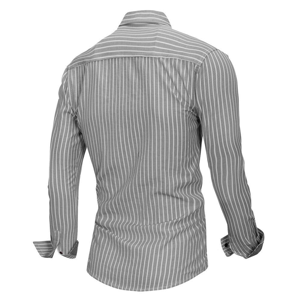 Camisas para hombre Camisa de vestir a rayas para hombre, camisa de manga larga de algodón, cuello alto y corte regular, tops con bolsillo Elegante camisa de vestir (Color : Gris ,