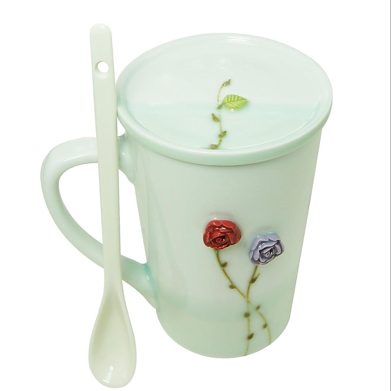 BUOP 3D Flowered Cup Set with Stem Saucer and Long Spoon, Porcelain Rose Flower Mug