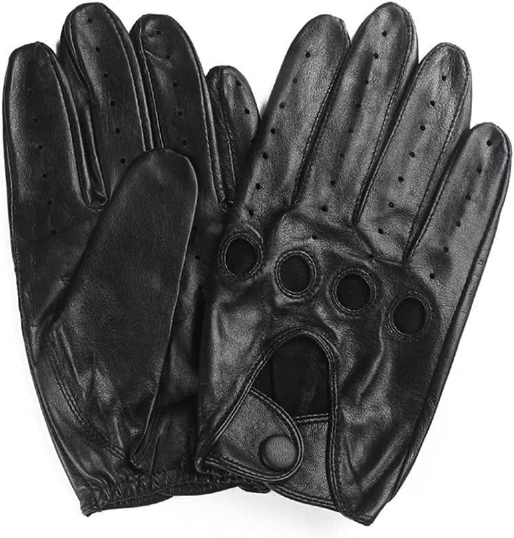 UimimiU Men's Soft Leather Hollow Gloves Anti-Skid Fashion Motorcycle Driving Retro Hollow Gloves Riding Outdoor Sports Sunscreen Sheepskin Mitten (Color : Brown, Size : 23cm)