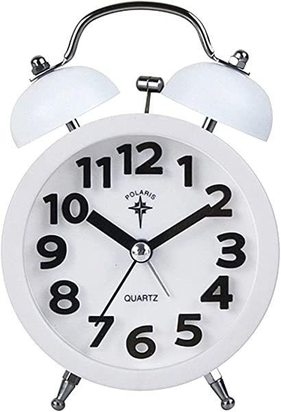Editha Kids Round Double Bell Loud Bedside Clock Non Ticking Silent Quartz Analog Alarm Clock White