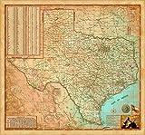Texas Wall Map - Decorators Antique Finish - Laminated - 39'x36'