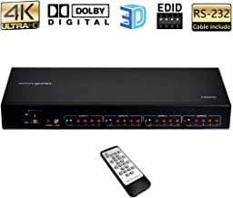 Omnigates 4x4 HDMI Matrix Switch 4K, RS-232 HDMI Switch 4K Splitter 4 in 4 Out with Remote and EDID Selector,HDMI Matrix Splitter Supports Dolby,UHD,3D,1080P,4K, for TV Fire Stick Player Xbox PS4 etc